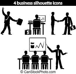 vetorial, silueta, pessoas negócio