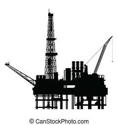 vetorial, silueta, plataforma, óleo