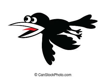 vetorial, silueta, voando, corvos, branco, fundo