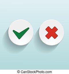 vetorial, sim, e, não, cheque, marcas, ligado, círculos