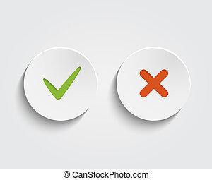 vetorial, sim, não, checkmark, ligado, botões, ou, círculos
