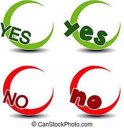 vetorial, sim, não, símbolo, -, positivo, negativo, ícone