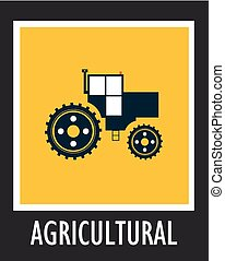 vetorial, simples, ícone, agricultura, trator, eps, 10