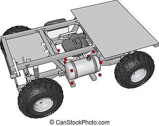 vetorial, simples, cinzento, ilustração, plataforma, construção, fundo, veículo, branca, transporte