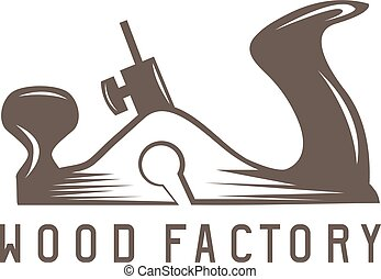 vetorial, simples, fábrica, madeira, desenho, modelo, jointer