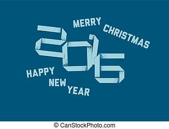 vetorial, simples, feliz ano novo, cartão, 2016