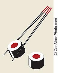 vetorial, simples, sushi, ilustração