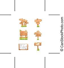 vetorial, sinais, madeira