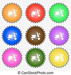 vetorial, sinal., ícone, jogo, colorido, diferente, labels., nove, bicicleta, scooter