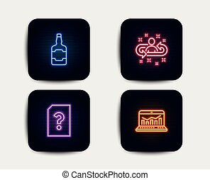 vetorial, sinal., analytics, icons., arquivo, teia, uísque, garrafa, desconhecidas, recrutamento