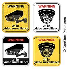 vetorial, sinal, cameras, vigilância