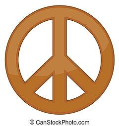 vetorial, sinal, paz, bronze, /