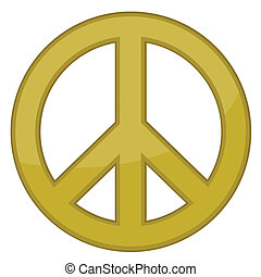 vetorial, sinal, paz, ouro, /