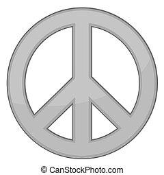 vetorial, sinal, paz, /, prata