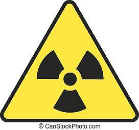 vetorial, sinal, radiação, isolado, ilustração, aviso, fundo, branca
