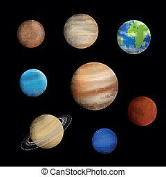 vetorial, sistema solar, planetas