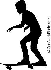 vetorial, skateboarders, illustration., silhouette.