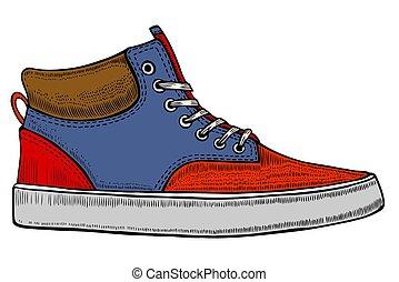 vetorial, sneakers, modernos, vermelho