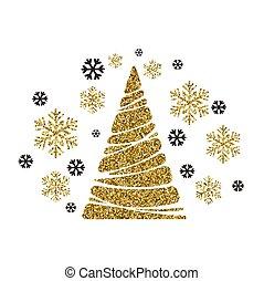 vetorial, snowflakes, árvore., fundo, feriado, natal