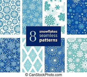 vetorial, snowflakes, mão, desenhado, 8, jogo, seamless,...