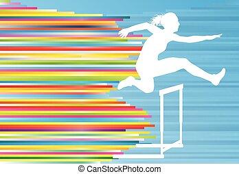 vetorial, sobre, pular, superar, atleta, femininas, fundo, obstáculos, obstáculos