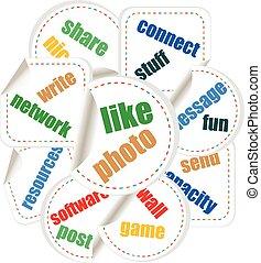 vetorial, social, mídia, palavra, e, ícone, nuvem