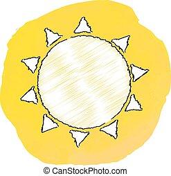 vetorial, sol, ilustração