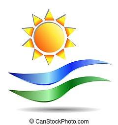 vetorial, sol, imagem, earth., eps10, realístico, água, logotipo, ondas, symbolizing