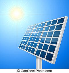 vetorial, solar, ilustração, painel