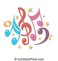 vetorial, staff., cor, .abstract, notas, value.music, illustration.mensural, experiência., notation.colorful, música, musical, symbols.note