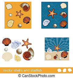 vetorial, starfish, conchas