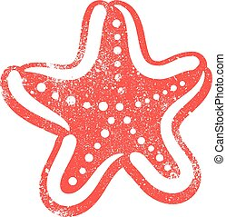 vetorial, starfish, criatura mar