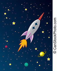 vetorial, stylized, retro, navio foguete, em, espaço