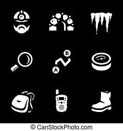 vetorial, subterrâneo, jogo, explorador, icons.