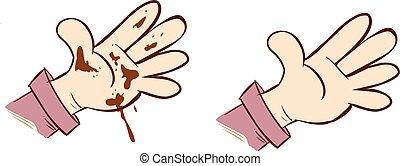 vetorial, sujo, ilustração, mãos