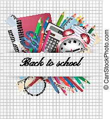 vetorial, supplies., school., fundo, costas