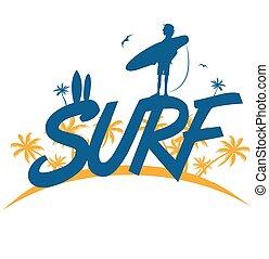 vetorial, surfista, lettering, surfar, árvore palma, ilustração, experiência.