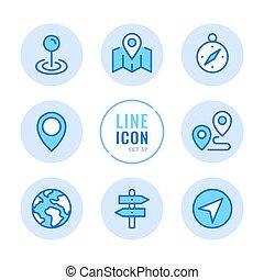 vetorial, symbols., navegação, elements., ícones, simples, set., rota, modernos, bandeira, mapa, apoplexia, gráfico, compasso, localização, linha, redondo, esboço