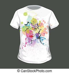 vetorial, t-shirt, desenho