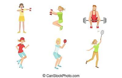 vetorial, tabela, esportes, mulheres, tipos, tocando, jogo, tênis, diferente, esportiva, homens, pessoas, barbell, ilustração, dumbbells, exercitar, badminton