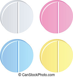 vetorial, tabuletas, colorido