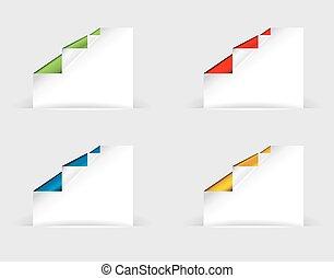 vetorial, tag, papel, shadows., origami, transparente