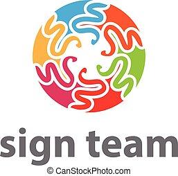 vetorial, team., conceito, ilustração, ícone
