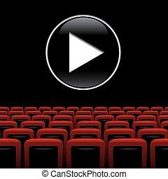 vetorial, teatro filme, fundo, com, vermelho, cadeiras, e, jogo, símbolo.