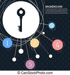 vetorial, tecla, ponto, infographic, fundo, style., ícone