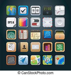 vetorial, teia, app, jogo, ícones