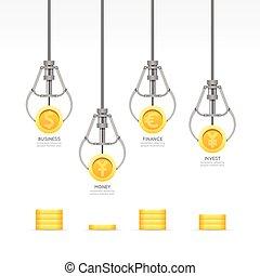 vetorial, teia, conceito, infographic, negócio, dinheiro,...