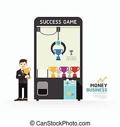 vetorial, teia, conceito, infographic, sucesso, ilustração negócio, layout., como, jogo, projeto gráfico, /, modelo, garra, ou, design.