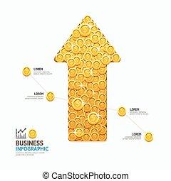 vetorial, teia, conceito, infographic, sucesso, negócio, moedas, seta, ilustração, layout., forma, projeto gráfico, /, modelo, ou, design.