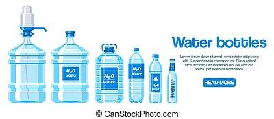 vetorial, teia, container., garrafas, fundo, saudável, super...